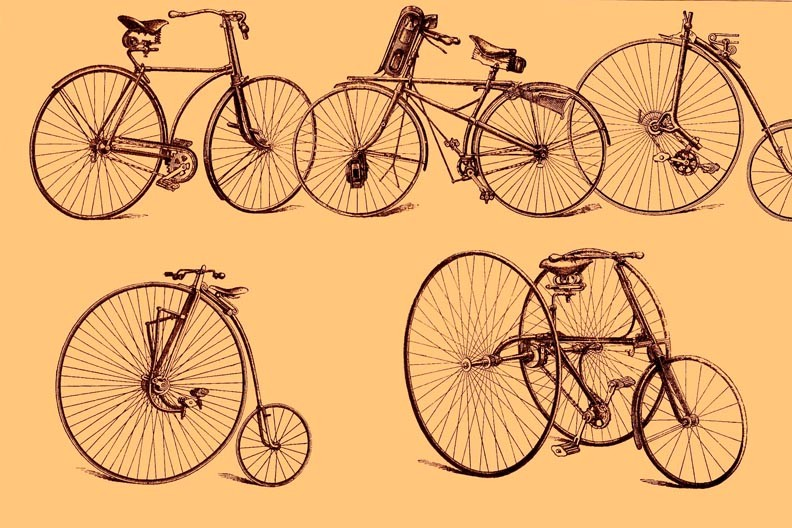 Collection of old bicycles